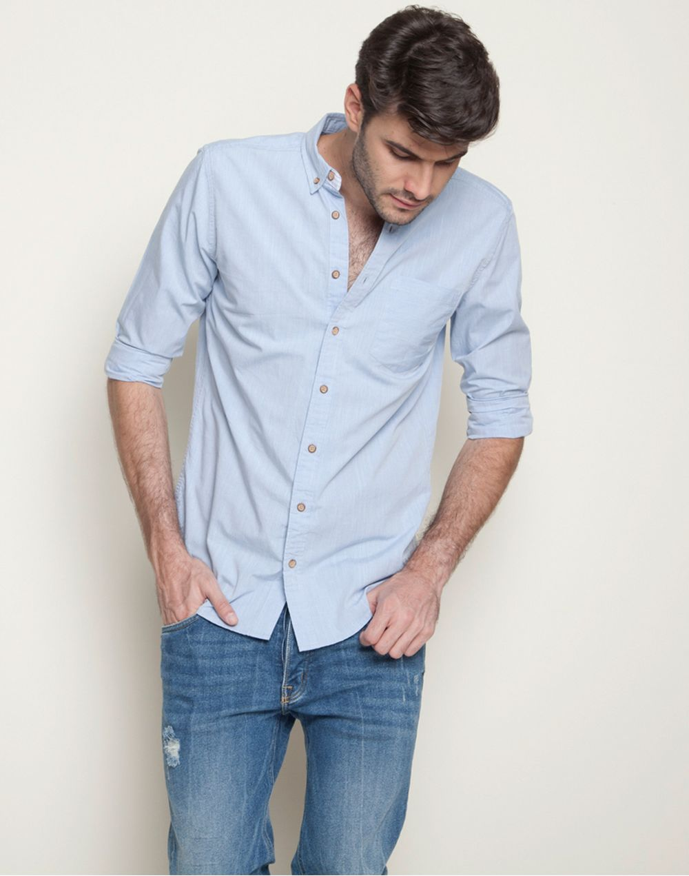 Camisa Unicolor Color Blue