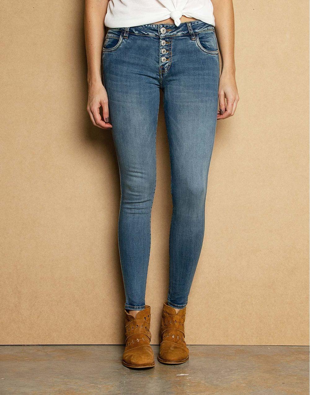 0b55faf01f6 Low Waist Skinny Jeans Botones Externos Azul 14 Compra en tienda ...