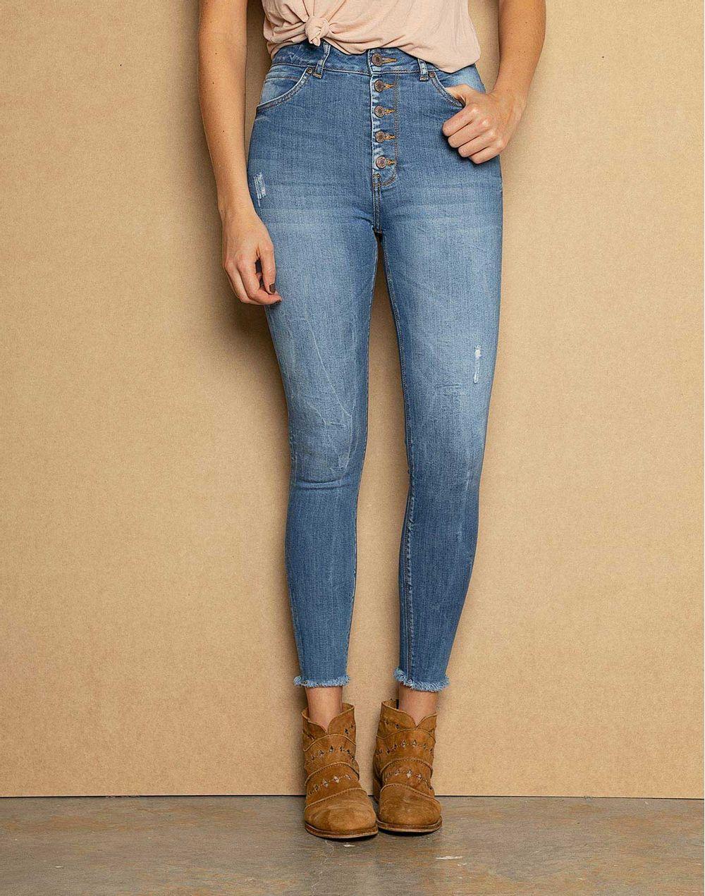 85c75a3f512 High Waist Skinny Jeans Ruedo Desflecado + Botones Externos Azul 14 ...