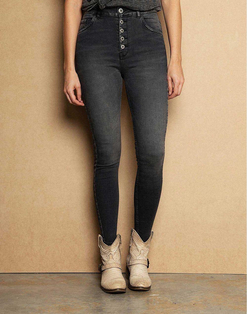 8225caf006 Black Denim High Waist Skinny Jeans Botones Externos Negro 14 Compra ...