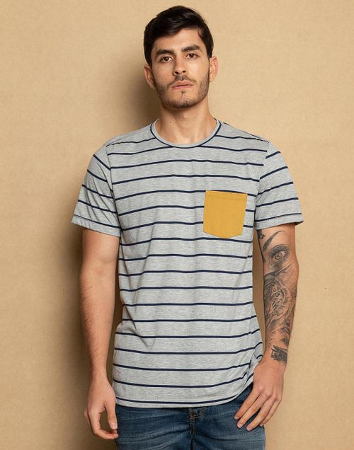 a30ca929927ee Camiseta A Rayas + Bolsillo