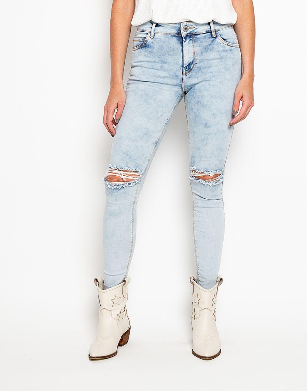 Medium Waist Jeans Rotos En Rodilla Azul 14 Compra En Tienda Color Blue Colorblue