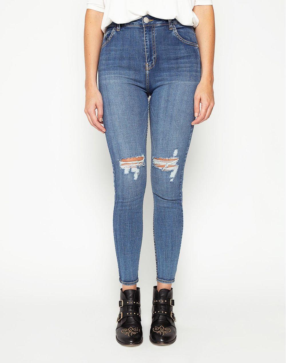 nueva llegada 58a1e 099ad High Waist Denim Jeans Rotos En Rodilla