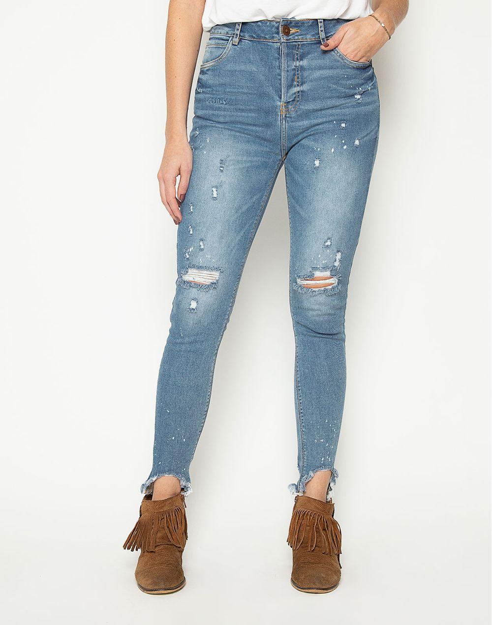 información para aea25 96002 High Waist Jeans Rotos Y Salpicado