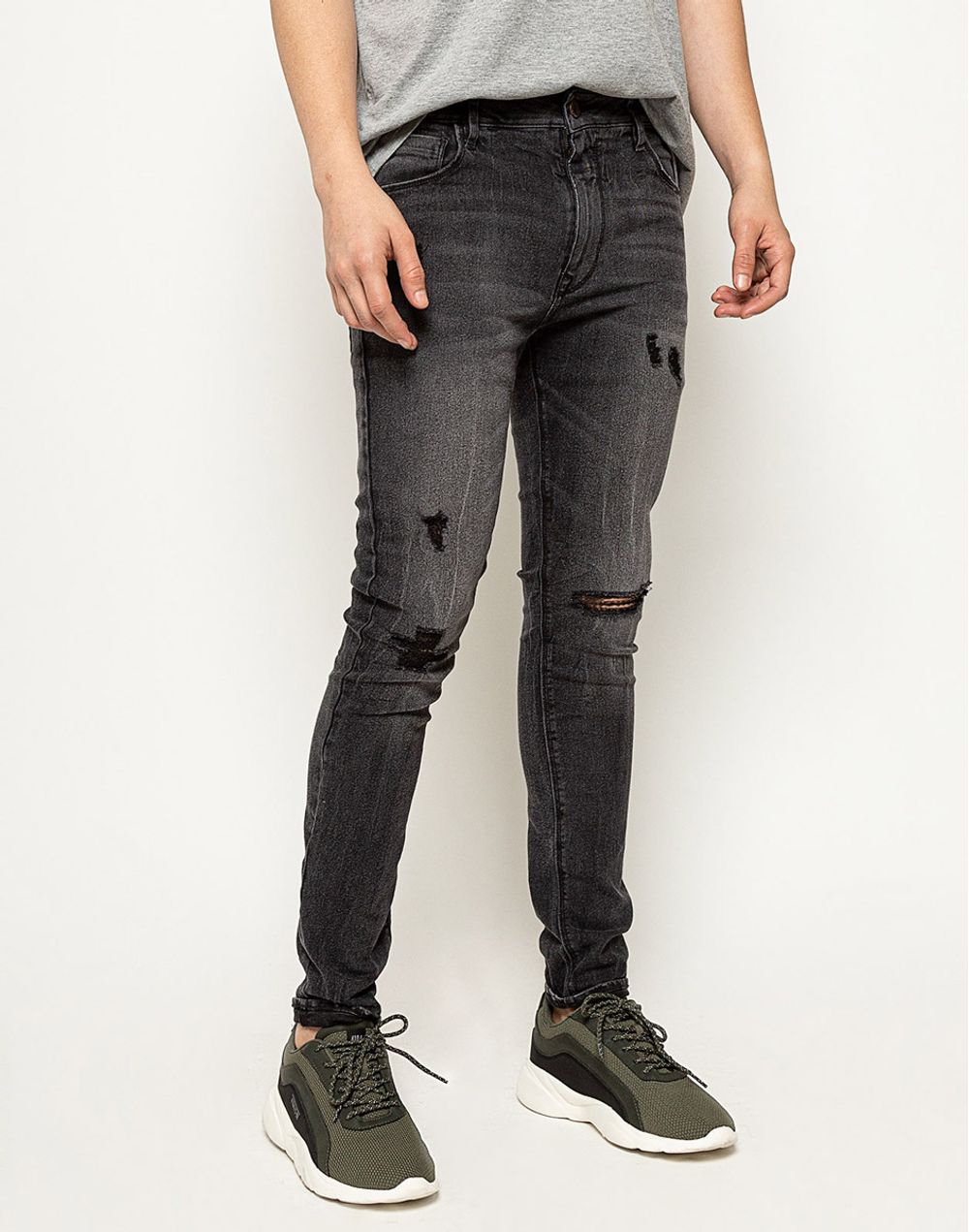 Black Denim Skinny Jeans Rotos Negro 34 Compra En Tienda Color Blue Colorblue